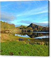 Cawfield Quarry And Hadrians Wall In Northumberland Canvas Print