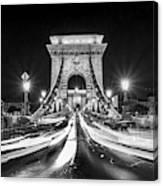 Chain Bridge At Night In Budapest Canvas Print