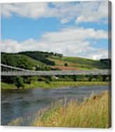chainbridge over river Tweed at Melrose Canvas Print