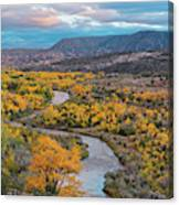 Chama River Valley Golden Cottonwoods - Abiquiui Rio Arriba County New Mexico Land Of Enchantment Canvas Print
