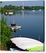 Chambly Basin And The Church Of St Joseph In Quebec Canvas Print