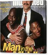Chicago Bulls Coach Phil Jackson, Michael Jordan, And Sports Illustrated Cover Canvas Print