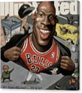 Chicago Bulls Michael Jordan Its Supermichael . . . Or Is It Sports Illustrated Cover Canvas Print