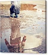 Child In A Puddle Canvas Print