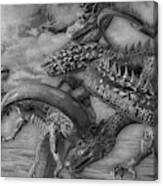 Chinese Dragons In Black And White Canvas Print