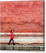 Chinese Young Lady Walking By Monument Canvas Print