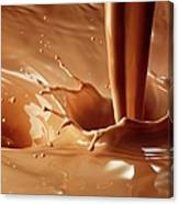 Chocolate Milk Pour And Splash Canvas Print