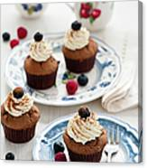 Chocolate Muffins With Berries Canvas Print