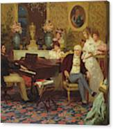 Chopin Playing The Piano In Prince Radziwills Salon Canvas Print