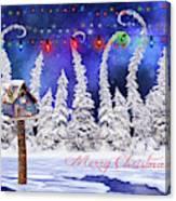 Christmas Card With Bird House Canvas Print