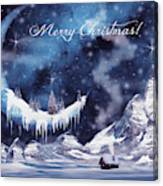 Christmas Card With Frozen Moon Canvas Print