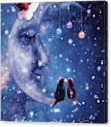 Christmas Card With Smiling Moon And Cats Canvas Print