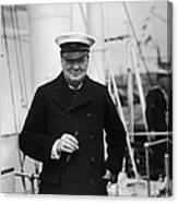 Churchill On Ship Canvas Print