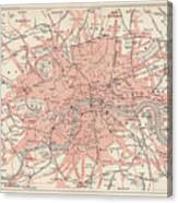 City Map Of London, Lithograph Canvas Print