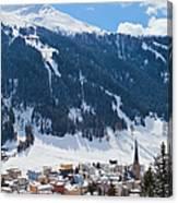 Cityscape Of Davos, Grisons, Switzerland Canvas Print