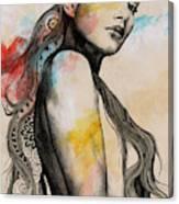 Cleansing Undertones - Zentangle Nude Girl Drawing Canvas Print
