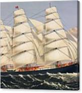 Clipper Ship Three Brothers, The Largest Sailing Ship In The World Published By Currier And Ives Canvas Print