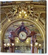 Clock At Le Train Bleu Canvas Print