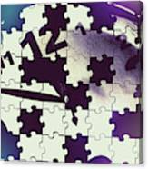 Clock Holes And Puzzle Pieces Canvas Print