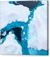 Close Up Photo Of Beautiful Blue Ice In Canvas Print