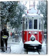 Close Up Shot Of Tramway Covered With Canvas Print