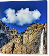 Clouds Abover Upper Yosemite Fall Canvas Print