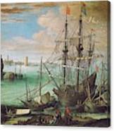 Coastal Landscape With Harbor  Canvas Print
