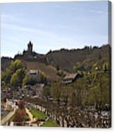 Cochem Main Street And Castle In Springtime In Germany Canvas Print