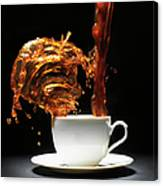 Coffee Being Poured Into Cup Splashing Canvas Print