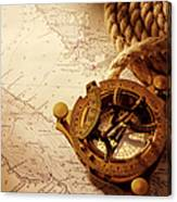 Coiled Rope And Nautical Chart With A Canvas Print