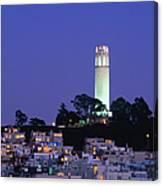 Coit Tower, Telegraph Hill At Dusk, San Canvas Print