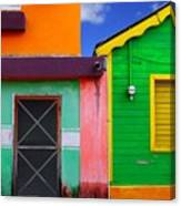 Colorful Caribbean Houses Tropical Canvas Print