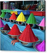 Colorful Dyes At Indian Market Canvas Print