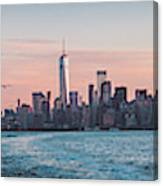 Colorful Sunrise Over The New York Skyline And The Statue Of Lib Canvas Print