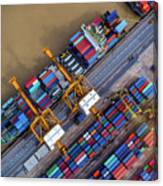 Container Ship In Import Export Canvas Print