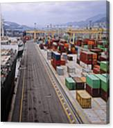 Container Shipping, Port Of Genoa, Italy Canvas Print
