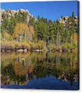Cool Calm Rocky Mountains Autumn Reflections Canvas Print