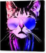 Cool DJ Cat In Neon Lights Canvas Print