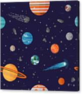 Cool Galaxy Planets And Stars Space Canvas Print