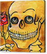 Corazon Sugarskull Holding Rose Canvas Print