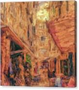 Corfu Town Street Scene Canvas Print