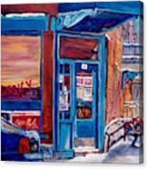 Corner Cafe Clark And Fairmount Wilensky's Winter Scene Habs Hockey Art C Spandau Quebec Artist Canvas Print