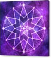 Cosmic Purple Geometric Seed Of Life Crystal Lotus Star Mandala Canvas Print
