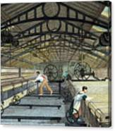 Cotton Manufacture Mule Spinning, C1830 Canvas Print