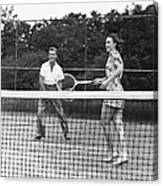 Couple Playing Tennis Canvas Print