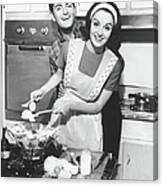 Couple Standing In Kitchen, Smiling, B&w Canvas Print