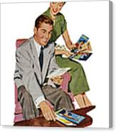 Couple With Travel Brochures Canvas Print