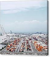 Crane And Cargo Containers On Pier Canvas Print