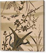 Cranes And Birds At Pond 1880 Canvas Print