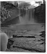 Crescent Falls Light Rays Through The Mist Black And White Canvas Print
